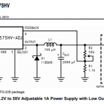 Adjustable power supply using LM2575