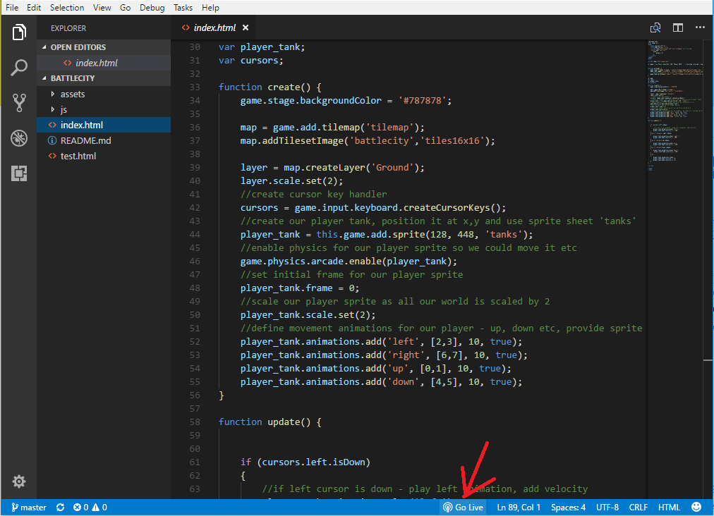 Visual Studio Code - go live