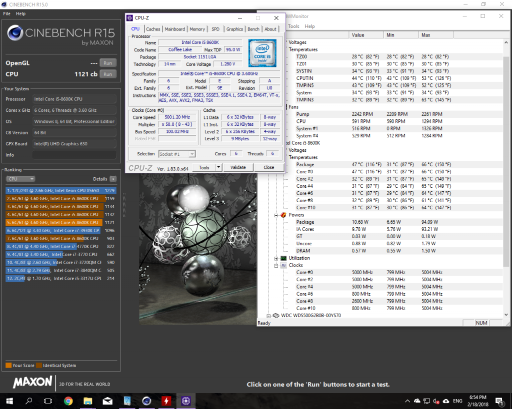 CineBench CPU test and min and max values for overclocked i5-8600K 5GHz