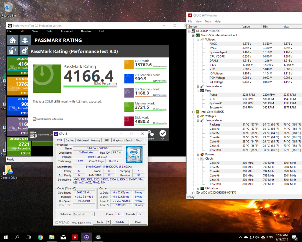 i5-8600k 50x multiplier, Auto voltage, overclocked RAM results